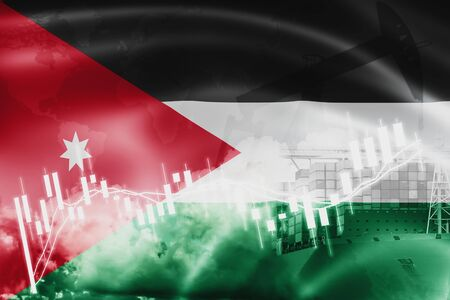 Jordan flag, stock market, exchange economy and Trade, oil production, container ship in export and import business and logistics.