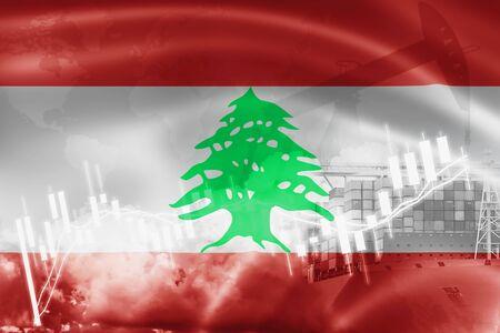 Drapeau du Liban, marché boursier, économie d'échange et commerce, production de pétrole, porte-conteneurs dans les activités d'exportation et d'importation et la logistique.