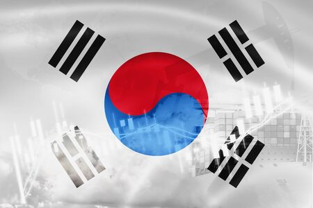 South Korea flag, stock market, exchange economy and Trade, oil production, container ship in export and import business and logistics. Stock Photo