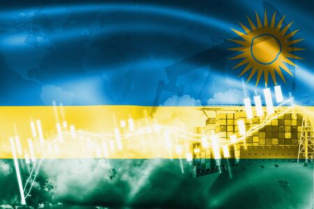 Rwanda flag, stock market, exchange economy and Trade, oil production, container ship in export and import business and logistics.