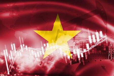 Vietnam flag, stock market, exchange economy and Trade, oil production, container ship in export and import business and logistics. Stock Photo