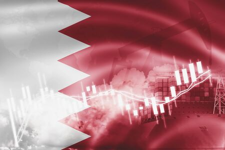 Bahrain flag, stock market, exchange economy and Trade, oil production, container ship in export and import business and logistics. Reklamní fotografie - 131550346