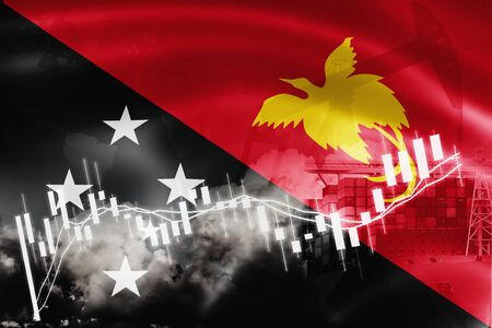 papua new guinea flag, stock market, exchange economy and Trade, oil production, container ship in export and import business and logistics. Stock Photo