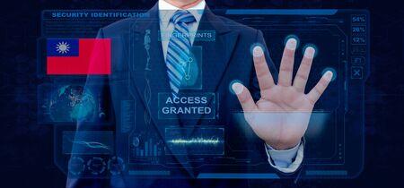 Finger Print Biometric Scanning Identification System. Businessman scan fingerprint biometric identity and approval. Taiwan Nationality Banco de Imagens