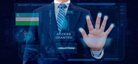 Finger Print Biometric Scanning Identification System. Businessman scan fingerprint biometric identity and approval. Uzbekistan Nationality Archivio Fotografico
