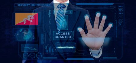 Finger Print Biometric Scanning Identification System. Businessman scan fingerprint biometric identity and approval. Bhutan Nationality