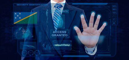 Finger Print Biometric Scanning Identification System. Businessman scan fingerprint biometric identity and approval. Solomon Islands Nationality