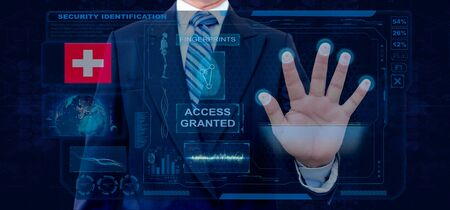 Finger Print Biometric Scanning Identification System. Businessman scan fingerprint biometric identity and approval. Switzerland Nationality Banque d'images - 133177793
