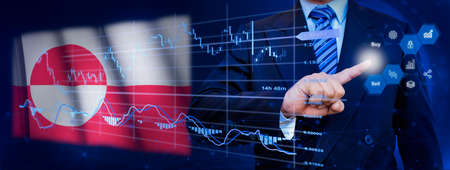 Businessman touching data analytics process system with KPI financial charts, dashboard of stock and marketing on virtual interface. With Greenland flag in background.