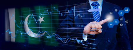 Businessman touching data analytics process system with KPI financial charts, dashboard of stock and marketing on virtual interface. With Pakistan flag in background.