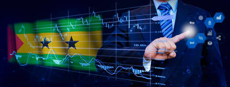 Businessman touching data analytics process system with KPI financial charts, dashboard of stock and marketing on virtual interface. With Sao Tome and Principe flag in background. Banque d'images