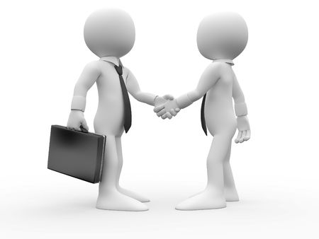 negotiation business: 3D human shaking hands