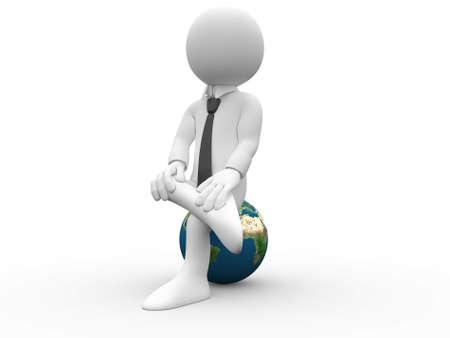 3D human sitting on Earth photo