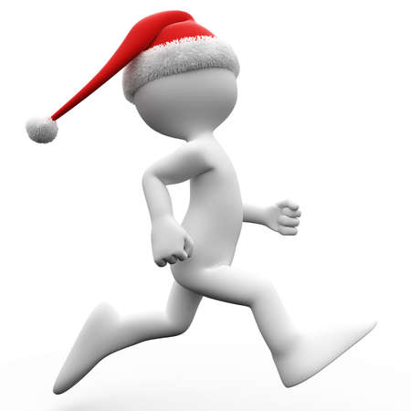 3D human running with a Santa Claus hat photo