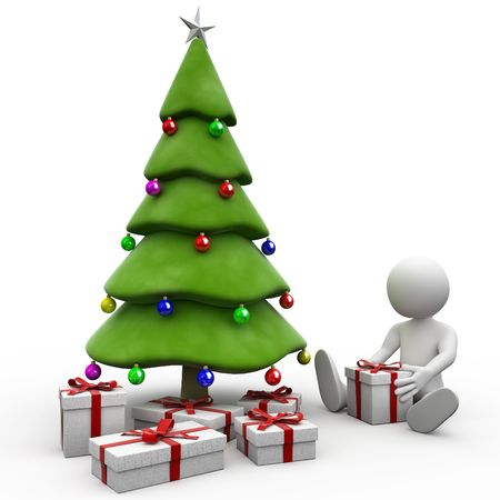 3D human sitting next to the Christmas tree photo