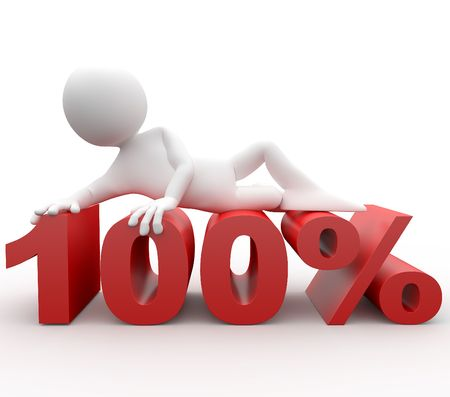 percentages: 3d human lying in 100 percent Stock Photo