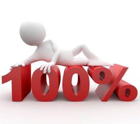 3d human lying in 100 percent Stock Photo - 8170126
