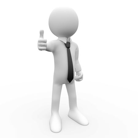 animate: 3d human with the thumb up sign of approval and ok