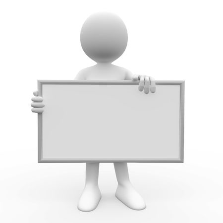 3d human with white poster to fill it with whatever you like Stock Photo - 8170128