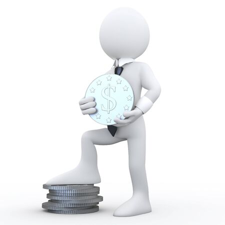 3D man holding a coin with the symbol of the dollar and the feet resting on a pile of coins Stock Photo - 8170123