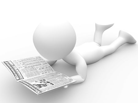 article icon: 3D human reading the newspaper lying Stock Photo