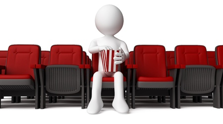 3D human sitting on armchair and eating popcorn photo