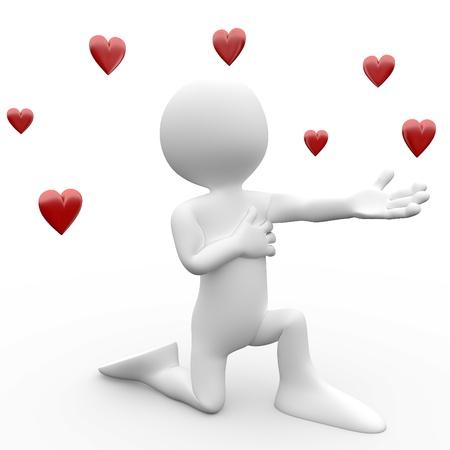 Humaine en 3D faisant une déclaration d'amour, à genoux