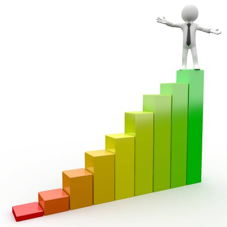 3D Human on top of a bar chart Stock Photo - 8317487