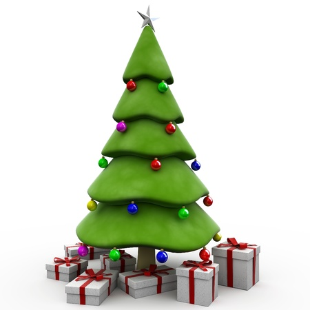 3D Christmas tree woth gift photo