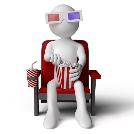 movies: 3D human sitting on a armchair in the cinema, eating popcorn with 3D glasses