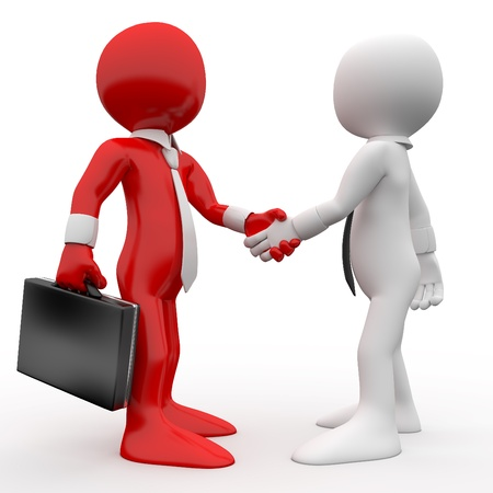 greet: Men shaking hands as a sign of friendship and agreement