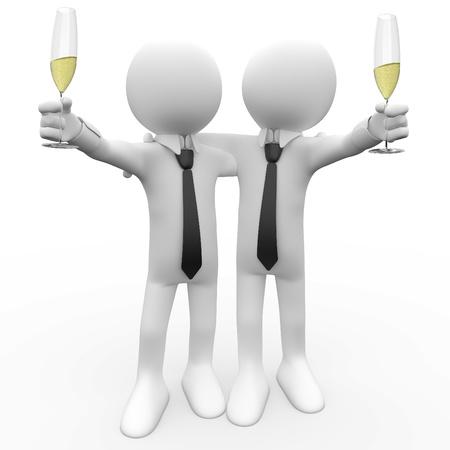 personas celebrando: Amigos, hacer un brindis con una Copa de champagne Foto de archivo