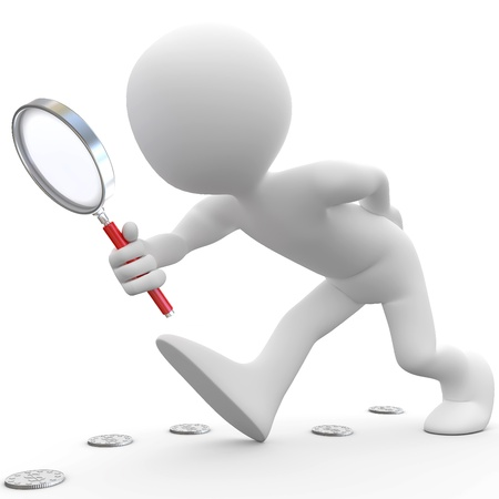 magnifying glass: Man with magnifying glass looking for coins