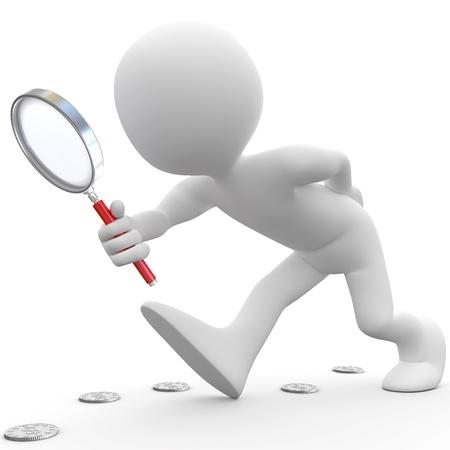 Uomo con lente d'ingrandimento alla ricerca di monete