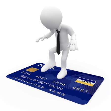 spend: Man on top of a blue credit card Stock Photo
