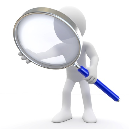 inspecting: Man with magnifying glass