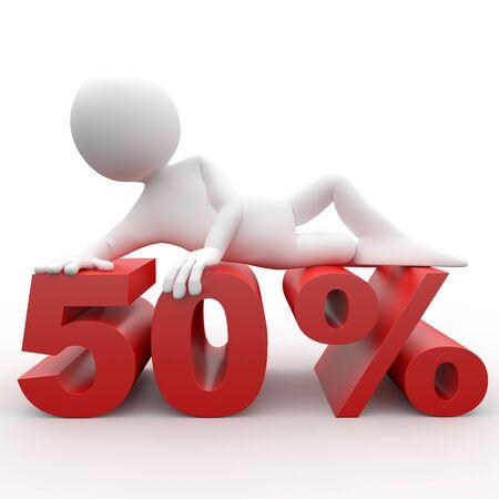 3d human lying in 50 percent photo