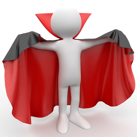3D human dressed in a red cape and black photo