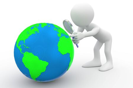 Man with big magnifying glass looking at Earth Stock Photo - 8559194