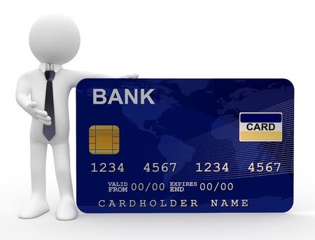carta credito: Uomo mostrando la carta di credito