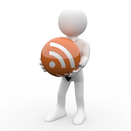 Man with a ball in his hands, with the logo RSS Stock Photo - 8559181