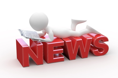 business news: Man reading, lying on the News word