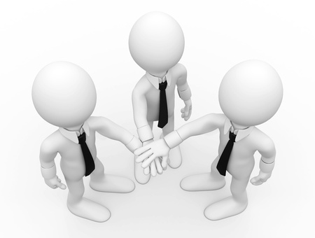 Three men shaking hands facing up photo