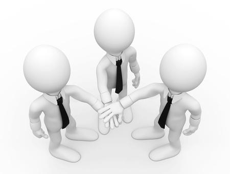 Three men shaking hands facing up Stock Photo - 8559192
