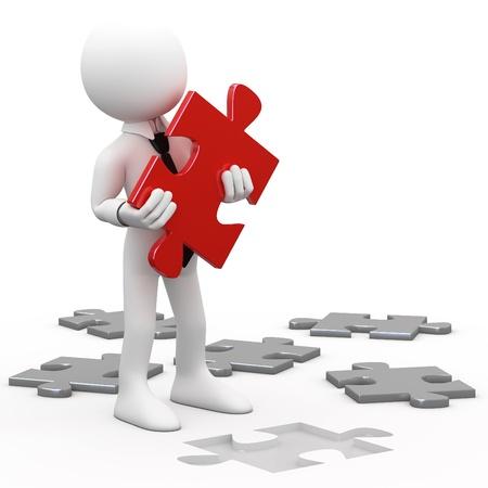 Man met een rode puzzel stuk in de hand