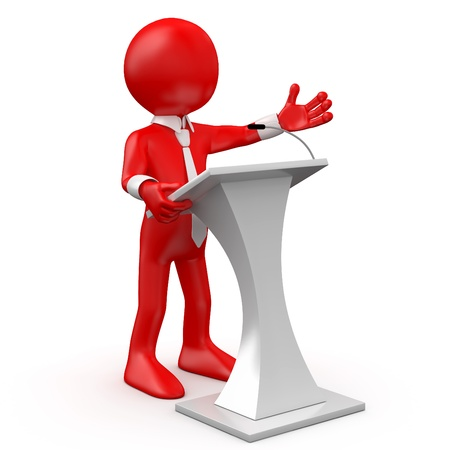 explaining: Red man speaking at a conference Stock Photo