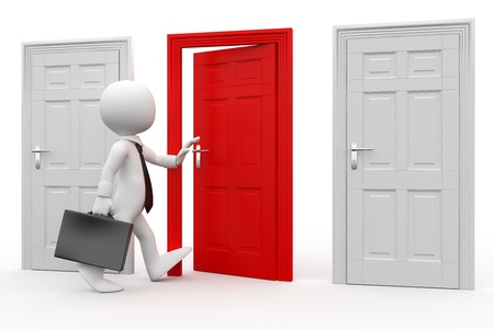 choose person: Man with briefcase entering a red door Stock Photo