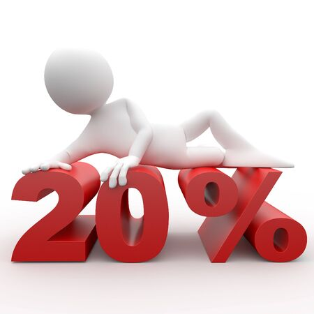 3d human lying in 20 percent Stock Photo - 8640664