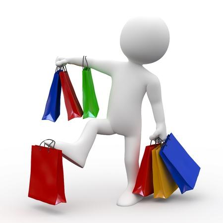chicas de compras: Hombre con muchas bolsas de varios colores, ir de compras