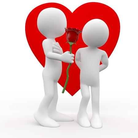femme romantique: L'homme donner ?ne femme une rose, un signe de l'amour